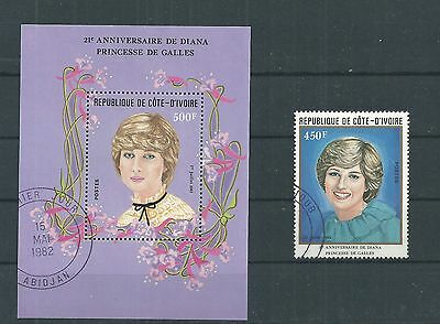 Ivory Coast 1982 Princess Diana + Sheet Used