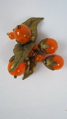 Antique Victorian Czech Art Glass Oranges Dress Clip