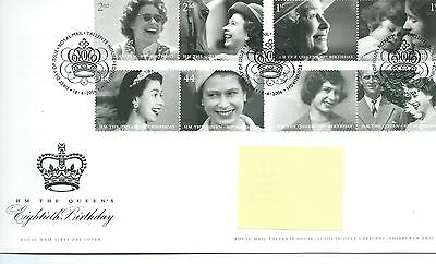 GB - FIRST DAY COVER - FDC - COMMEMS -2006- HM QUEEN'S 80th BIRTHDAY - Pmk TH