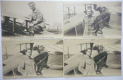 4 Authentic Wwi Period French Aviator Post Cards Hugues Fonck Deullin Mint