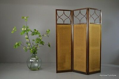 Antique Edwardian Mahogany Folding Privacy Screen Room Divider