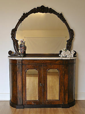 Antique Carved Mirror Back Marble Top Inlaid Walnut Credenza /Sideboard /Buffet