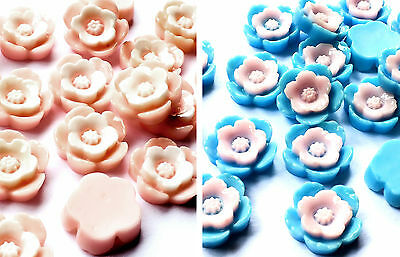 20 x Blue / Pink Acrylic Flower Cabochon Flat Back Embellishment 13mm Deco Craft