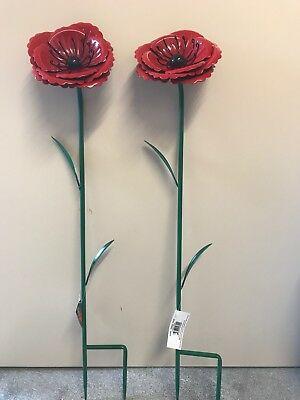 Fountasia Pack of 2 Small Metal Poppy Flower Stakes Garden Outdoors Remembrance
