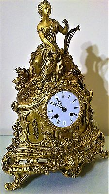 ANTIQUE FRENCH ORMOLU BRONZE MANTEL CLOCK by Japy Freres