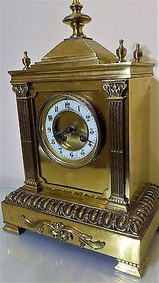 Antique French Gilt Brass Mantel Clock by Japy Freres.