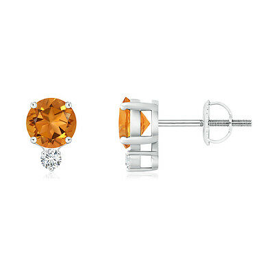 Natural Round Cut Citrine Stud Earrings with Diamond in 14k White Gold Platinum