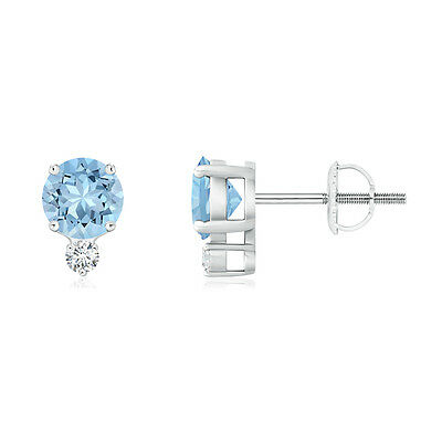Natural Round Cut Aquamarine Stud Earrings with Diamond 14k White Gold Screwback
