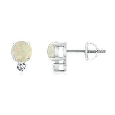 Natural Round Cut White Opal Stud Earrings with Diamond 14k White Gold Silver