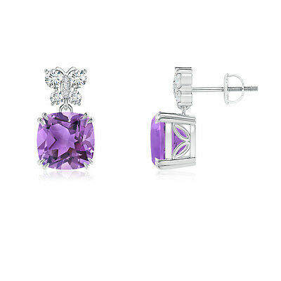 Natural Amethyst Drop/Dangle Earrings & Diamond Butterfly Motifs 14K White Gold