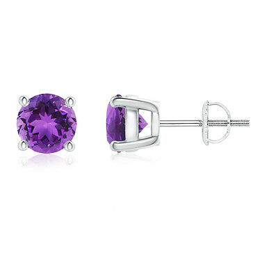Natural Round February Birthstone Amethyst Stud Earrings in 14k White Gold
