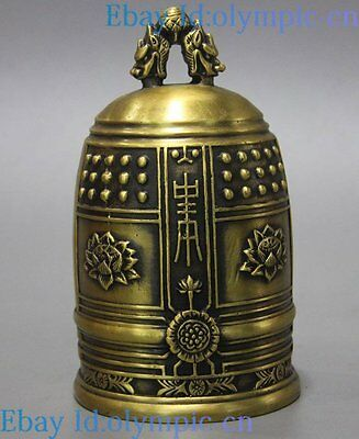 """6"""" Fine brass sculpture China copper carved lotus dragon buddhism bell Statue"""