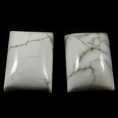 1 Pair Natural Howlite Gemstone 12x16mm Rectangle Cab 28.7 Cts Stones ER4192