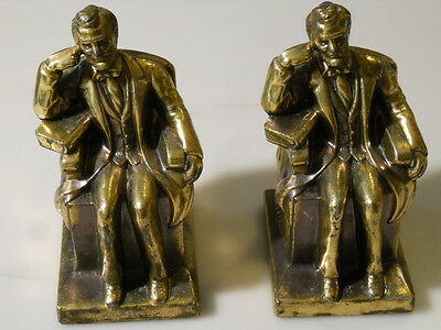 """Vtg Pair Abraham Lincoln Bookends cast Pewter with Brass/Bronze plating 7"""" Tall"""