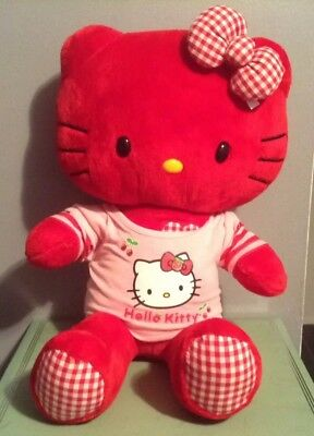 "19"" Limited Edition Hello Kitty Red Gingham BUILD-A-BEAR Stuffed Plush Toy"