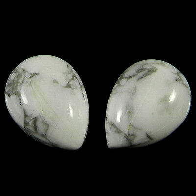 1 Pair Natural Howlite Gemstone 12x16mm Pear Cab 21.1 Cts Stones ER4187