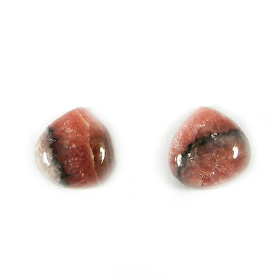 1 Pair Natural Rhodonite Gemstone 12x12mm Heart Cab 15.8 Cts Stone ER5551