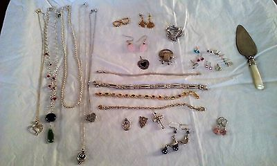 Vintage Estate Lot Of Wearable Sterling Silver/925 Jewelry Pendents, Bracelet