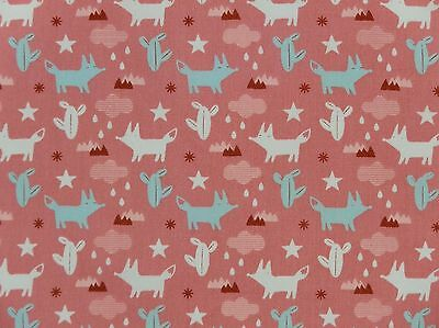Cute Pink Fox Patterned Fabric Fat Quarter  - 100% Cotton