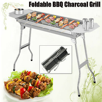 Folding BBQ Charcoal Barbecue Grill Garden Picnic Cooking Stainless Side Plate
