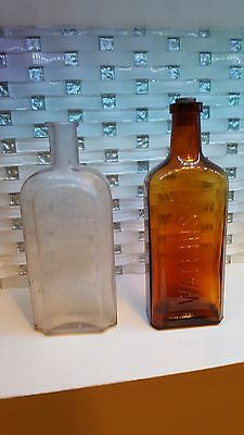 Antique Brown Glass Watkins Trial Mark Bottle & Canadian Booster Hair Tonic Cure