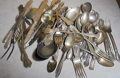 Vtg Lot 5 Lb Silver Plate Flatware Spoon Knife Fork Resell Crafts Jewelry Scrap