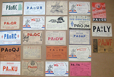 Collection of 23 Amateur Radio QSL Cards all from NETHERLANDS dated 1946-1949
