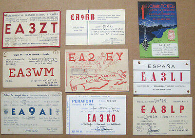 Collection of 9 Amateur Radio QSL Cards all from SPAIN dated 1947-1961