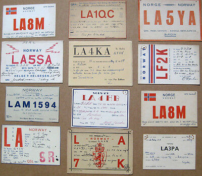 Collection of 12 Amateur Radio QSL Cards all from NORWAY dated 1947-1950