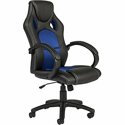 Executive Racing Office Chair PU Leather Swivel Computer Desk Seat Back Blue