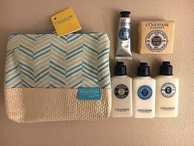NEW L'OCCITANE GIFT WASH BAG SET SHAMPOO SOAP CREAM en provence SHEA BLUE zip