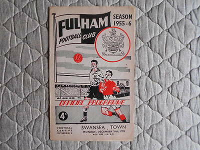 Fulham V Swansea Town Second Division Match Programme December 1955