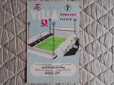 Aston Villa V Blackburn & Bristol City Joint Match Programme 19 & 21/01/1963