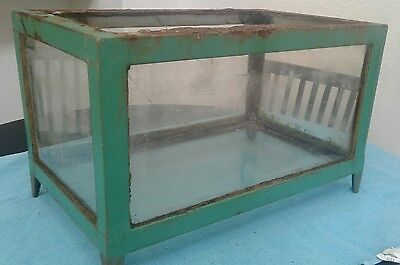 Antique Rare 20s - 40s Lg Depression-era Heavy Cast Angle Iron Aquarium Fishbowl