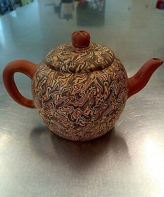 Rare Chinese clay teapot with marbled effect possibly yixing