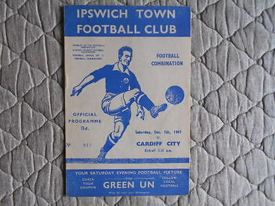 Ipswich Town V Cardiff City Football Combination Match Programme December 1957