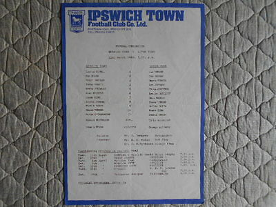 Ipswich Town V Luton Football Combination Single Sheet Programme March 1980