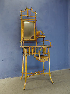 Antique Vintage Art Nouveau 1910 Bamboo Vanity Dressing Table With Mirror