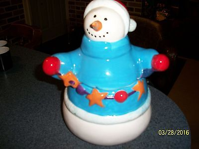 Christmas Snowman Cookie Jar ~ Unique and Adorable ~ Great Condition