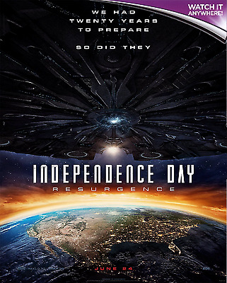 INDEPENDENCE DAY: RESURGENCE * Digital HD Ultraviolet UV Code ONLY * 24/7