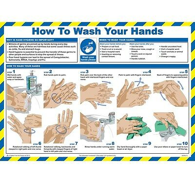 How To Wash Hands Sign, Health & Safety Poster, Hygiene, Kitchen,Catering Chart