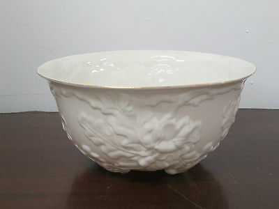 "Belleek bowl 8 1/4"" round 5""deep new perfect condition made Ireland oak leaf pat"