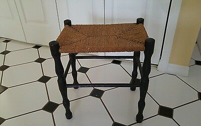 Vintage MCM AMERICANA/ VICTORIAN  Bench Stool Woven Rush Seat Wood