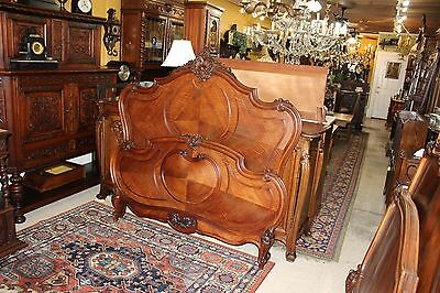 Beautiful Antique French Walnut Louis XV Queen Size Bed .