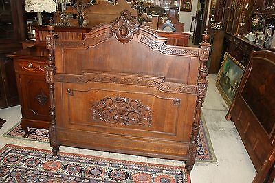 French Antique Carved Solid Oak Louis XVI Full Size Bed