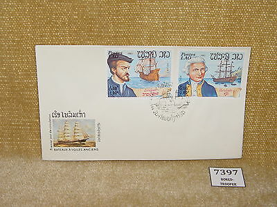 Laos - Poste Lao Bateaux A Voiles Anciens Old Sail Boats Thematic 2V Fdc 1983