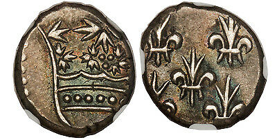 INDIA-FRENCH (1720-1837) AR 2 Fanon. NGC AU55. Attractively toned, rare quality.