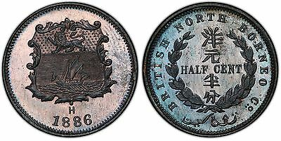 BRITISH NORTH BORNEO. 1886-H AE 1/2 Cent. PCGS SP65+BN. Heaton, Birmingham. KM 1