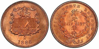 BRITISH NORTH BORNEO. 1886-H AE 1/2 Cent. PCGS SP67RD. Heaton, Birmingham. KM 1.