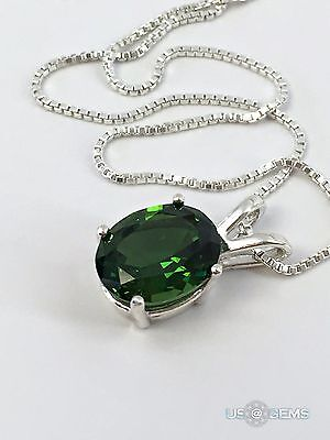 925 Sterling Silver pendant created 3 ct. Chrome Diopside Chain Necklace Jewelry